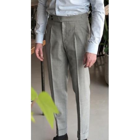 Spodnie Garniturowe 120s VBC Wool Light Grey Herringbone