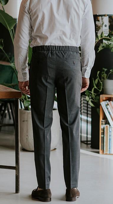 Męskie wełniane spodnie Garniturowe 120s VBC Wool Medium Grey o gładkiej fakturze w kolorze jasno szarym