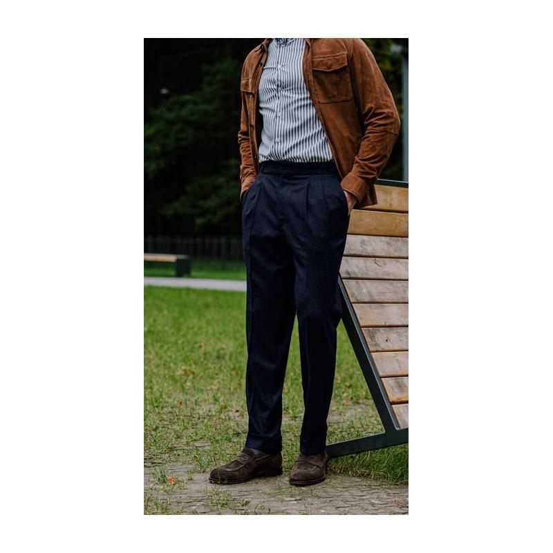 Spodnie Garniturowe 120s VBC Wool Dark Navy Herringbone - 226