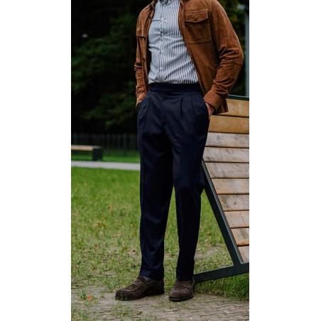 Spodnie Garniturowe 120s VBC Wool Dark Navy Herringbone