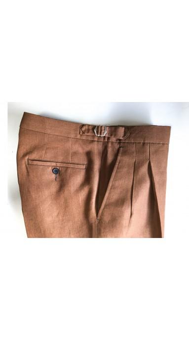 Letnie lniane spodnie męskie Benevento Mushroom