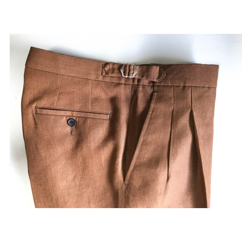 Spodnie męskie lniane Mushroom - 187