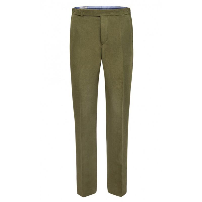 Spodnie Męskie  Lniane Ciemno Zielone     Moss