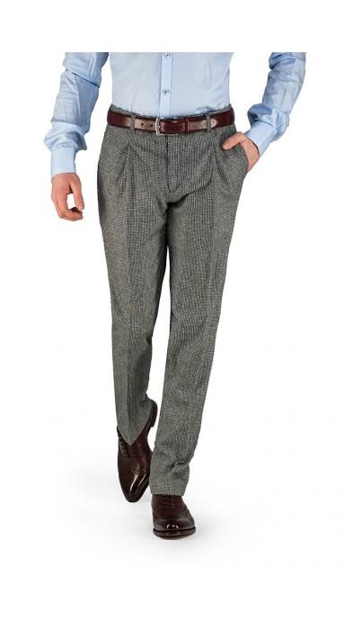87b492046e9e9e Flanelowe spodnie męskie 100% WEŁNA | Szara pepitka