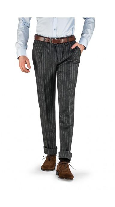 a57418a1654f67 Spodnie flanelowe 100% Wełna 120's Szare w Prążek