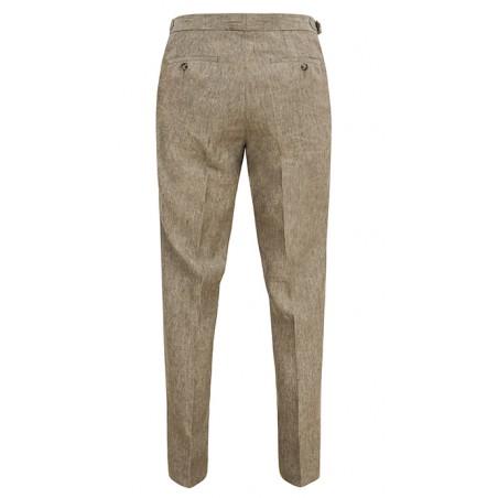 cd6688dcbf0fe Lniane męskie spodnie w kolorze piaskowym