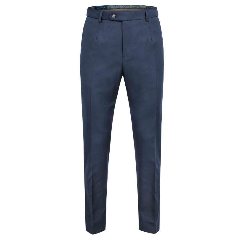Spodnie Garniturowe Wełna 110's  Granat Birdseye