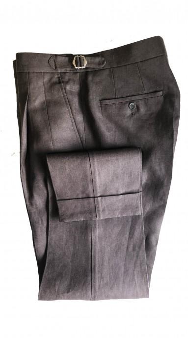 Spodnie lniane Czekoladowe