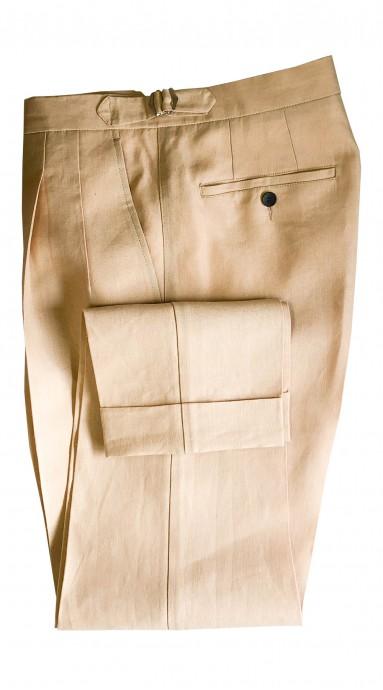 Spodnie lniane Kremowe