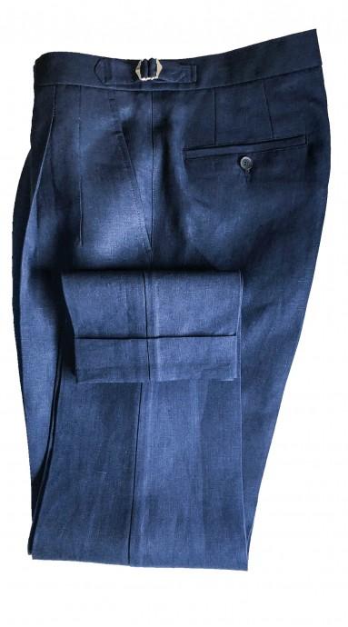 Spodnie lniane Granatowe