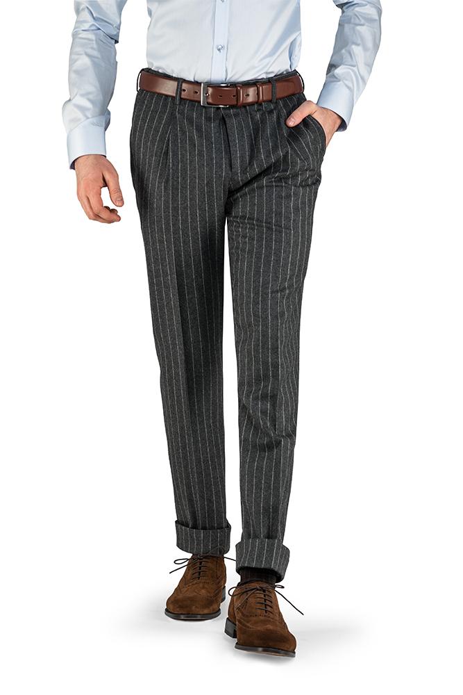 Spodnie flanelowe w prążek